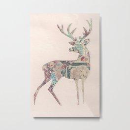 Deer silhouette rose and teal Metal Print