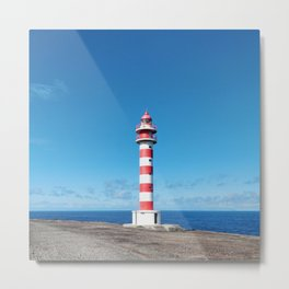 Striped Lighthouse in Gran Canaria Overlooking the Atlantic Ocean Metal Print