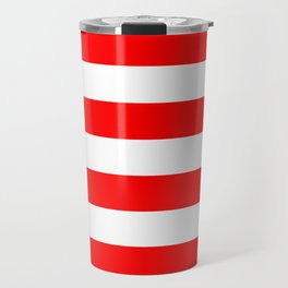 Australian Flag Red and White Wide Horizontal Cabana Tent Stripe Travel Mug