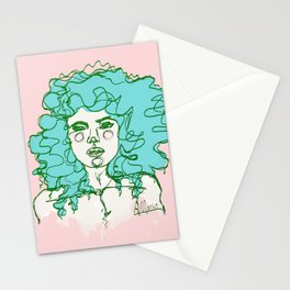 Turquoise Mermaid Curls Stationery Cards