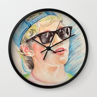 niall horan Wall Clocks featuring Niall Horan glasses by vanessa