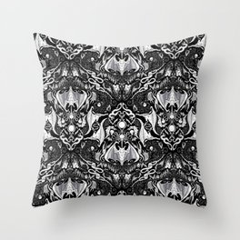 Bats And Beasts - Black and White Throw Pillow