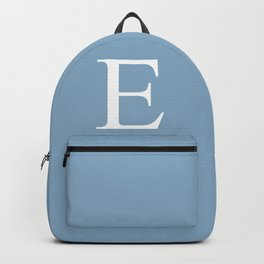 Letter E sign on placid blue color background Backpack