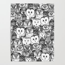 just owls black white Poster