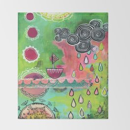 Happiness Boat Throw Blanket