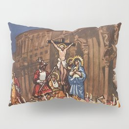 Italian travel ad Christian Easter procession Trapani Pillow Sham