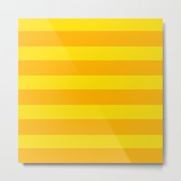 Yellow Horizontal Stripes Graphic Metal Print