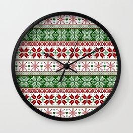 Green & Red Winter Fair Isle Wall Clock