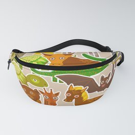 collection Funny cartoon Animals seamless pattern on beige background. Vector Fanny Pack