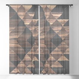 Urban Tribal Pattern No.11 - Aztec - Wood Sheer Curtain