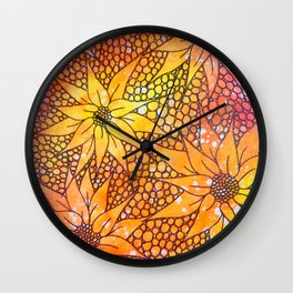 Black flowers on neon painting Wall Clock