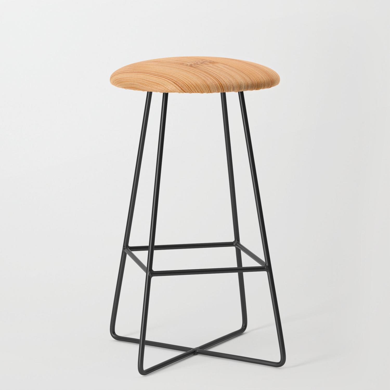 Cool Elegant Light Brown Bamboo Wood Print Bar Stool By Pldesign