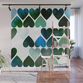 Mod Blue Hearts Wall Mural