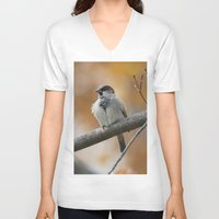 sparrow V-neck T-shirts featuring Sparrow by Tammi Hofstetter