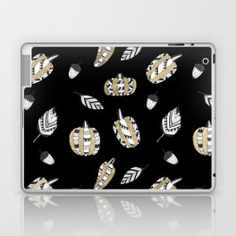 Elegant faux gold black white pumpkins leaves Laptop & iPad Skin