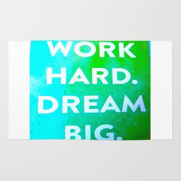 Work Hard. Dream Big. Watercolor and Ink ( Decor, Typography, S6, Tropical) Rug