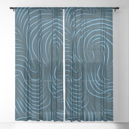 Abstract curves on blue background Sheer Curtain