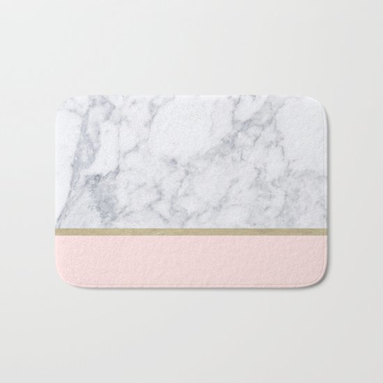 Marble Gold Blush Pink Pattern Bath Mat By Xiari Society6