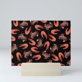 crab shrimps pattern black Mini Art Print