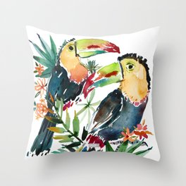 BELIZE AND FABIO THE TOUCANS Throw Pillow