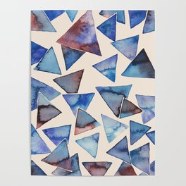 Triangle pattern watercolor painting Poster
