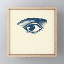 I see you. Navy Blue on Cream Framed Mini Art Print