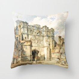 12,000pixel-500dpi - Christian church gate, Canterbury - Joseph Mallord William Turner Throw Pillow
