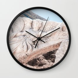 European City Ruins | Ephesus Carved Statue Rock Muted Baby Blue Tan Colors Historical Wanderlust Wall Clock