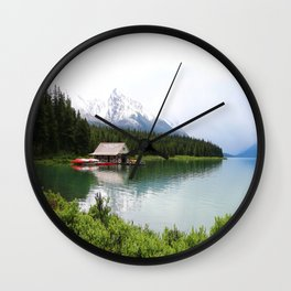 Boat House On Maligne Lake Wall Clock