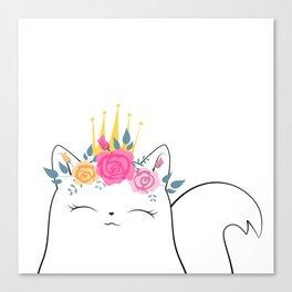 Flower Crown Cat Canvas Print