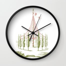 Pale Pink and Green Vintage Maypole Illustration Wall Clock
