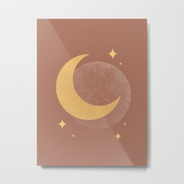Moon Sparkle Gold - Celestial Metal Print