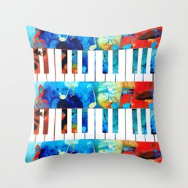 Colorful Piano Art by Sharon Cummings Throw Pillow