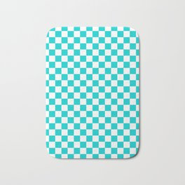 White and Cyan Checkerboard Bath Mat