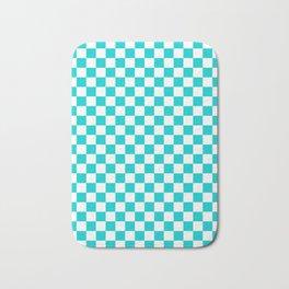 White and Cyan Checkerboard Bath Mat