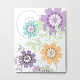Flowers and Swirls Metal Print