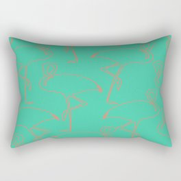 Turquoise Flamingo Rectangular Pillow