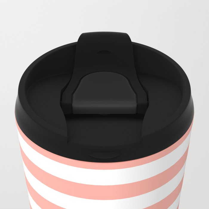 Simply Striped in Salmon Pink and White Metal Travel Mug