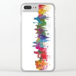 Liverpool seafront city line skyline waterfront watercolour colours colour splash by Evangelos Clear iPhone Case