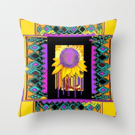 Lilac Sunflower Morning in Yellow, Green, Purples and Black Abstract. Throw Pillow