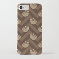 sloths iPhone & iPod Cases featuring Sloths on chevrons by Petits Pixels