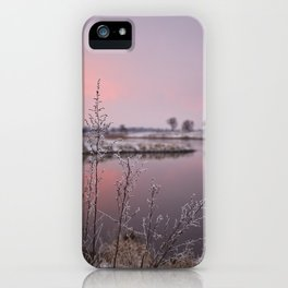Winter Sunset At River Bank iPhone Case