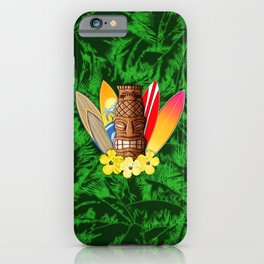Surfboards And Tiki Mask Palm Trees iPhone Case