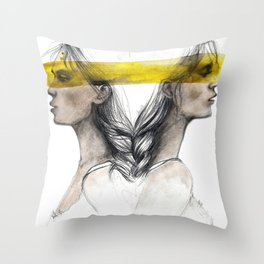 Twins sisters soulmates Throw Pillow