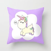 poop Throw Pillows featuring Unicorn Poop by Stephanie Keyes Design
