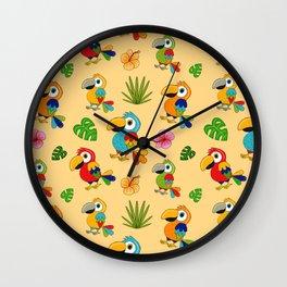 Colorful Macaws Wall Clock