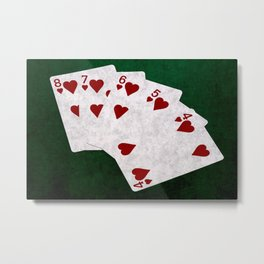Poker Straight Flush Hearts Metal Print