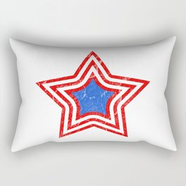 Patriotic Vintage Star Blue Center Red and White Stripes Rectangular Pillow