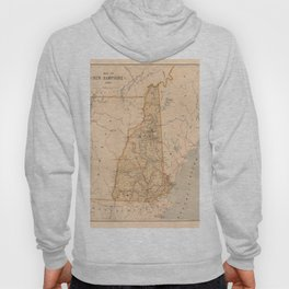 Map Of New Hampshire 1890 Hoody