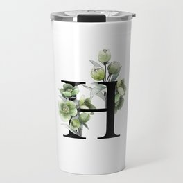 Letter 'H' Helleborus Flower Typography Travel Mug